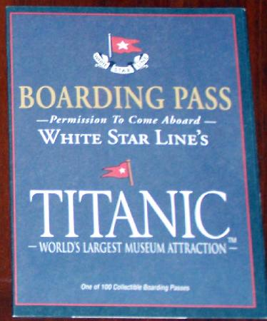 Titanic Museum: Boarding Pass