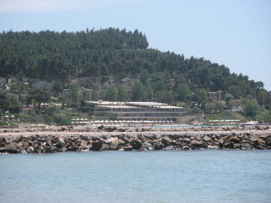 Sani Asterias: sani beach club as viewed from private beach of asterias-porto