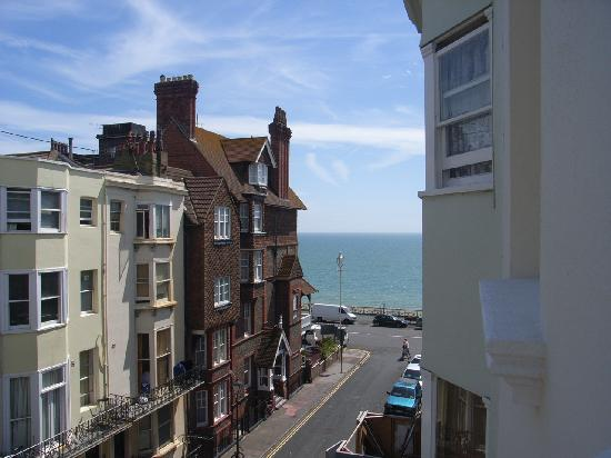 The Twenty One: Veiw from window, quiet street, parking easy enough and a glimps of the sea