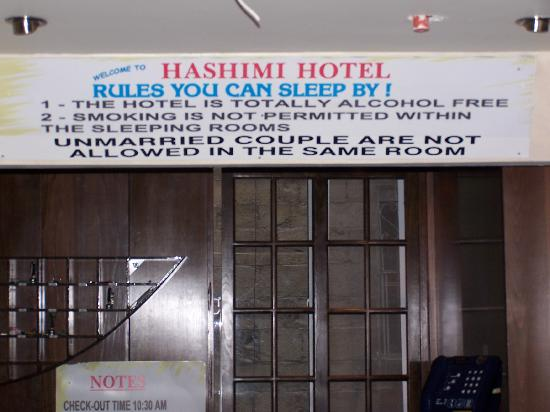Hashimi Hotel: Rules you can sleep by !