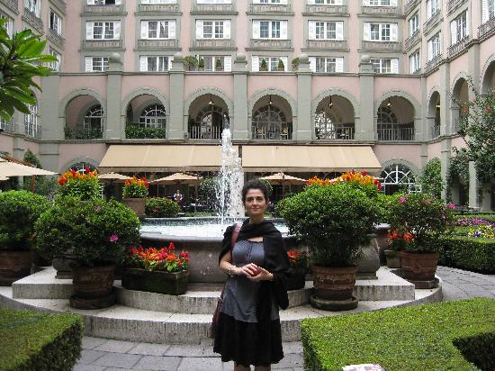Four Seasons Mexico City: My beautiful wife in the hotel courtyard