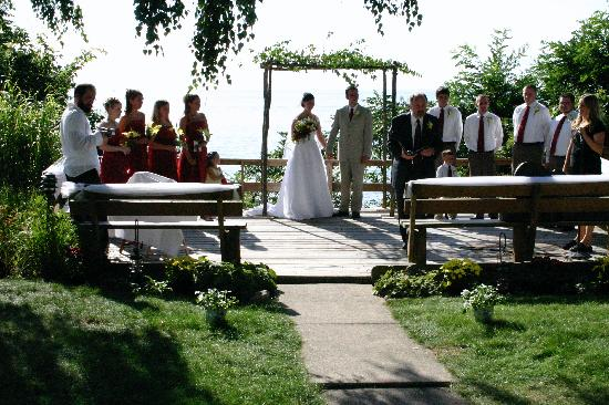 Whitehall, MI: Outside wedding over lake Michigan