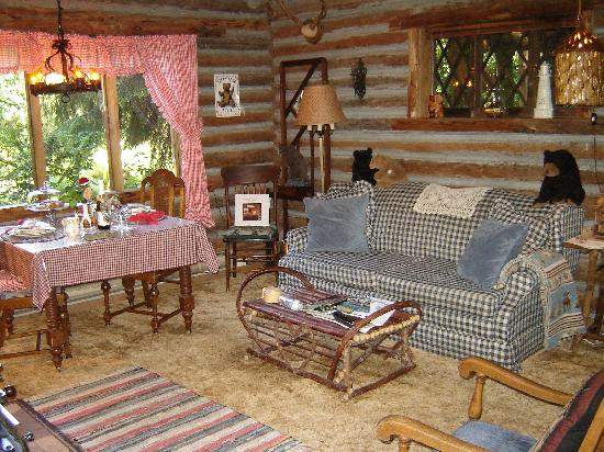 Great Guest House Log Cottages: Log Cabin Living Room Idea