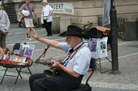 Accord Pension Prague: Local street musician - actually very good