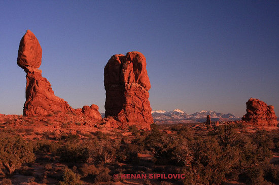 Arches National Park, UT: BALANCED ROCK AT SUNSET