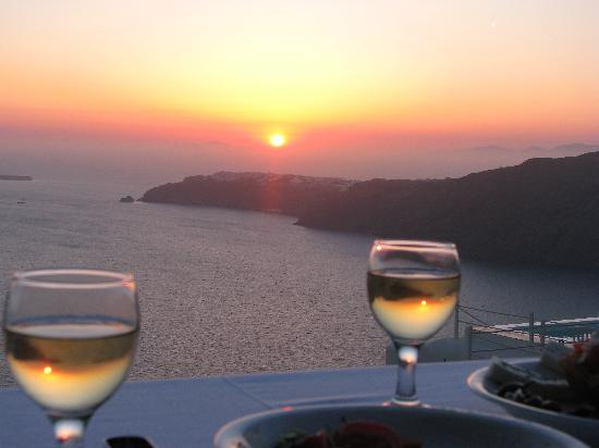 Anastasis Apartments: On the balcony-Wine, Food, Sunset...a perfect evening