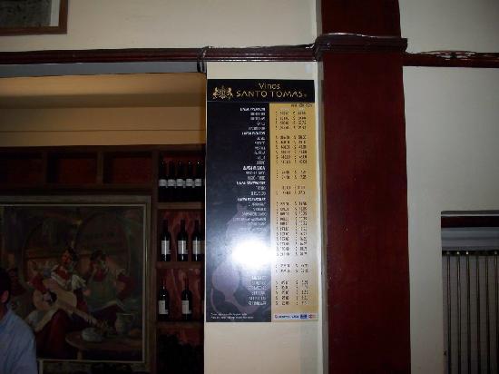 Bodegas de Santo Tomas: Price List