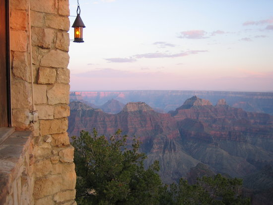 Grand Canyon Lodge - North Rim: View at sunset of canyon