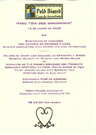 Hotel Casa do Amarelindo: special dinner celebration menu