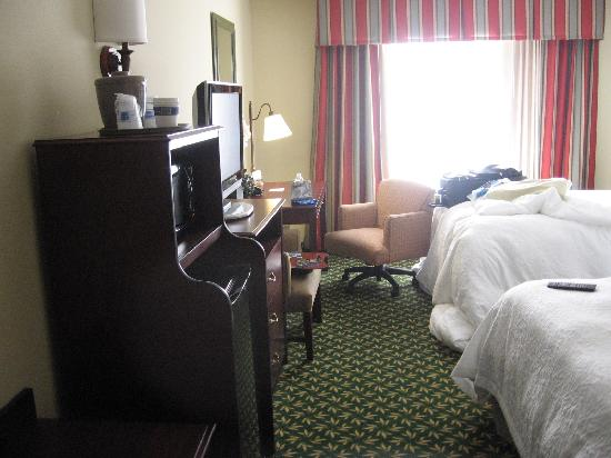 Hampton Inn & Suites Fort Worth-West/I-30: room interior, note microwave and refrigerator
