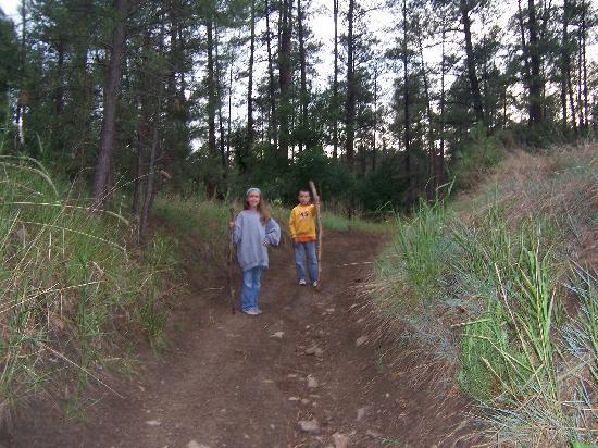 Rainbow Lake Cabin & RV & Resort: Hiking on the Rainbow Lake RV & Resort trails.