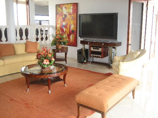Sheriva Villa Hotel: The living room and TV
