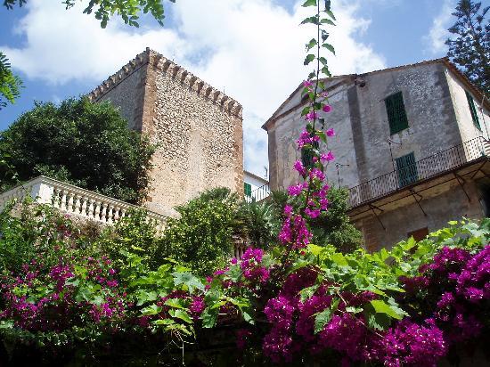 Bañalbufar, España: torre dell'hotel dalla piscina
