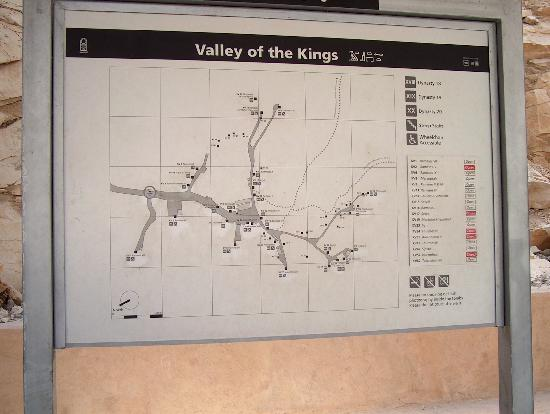 Tomb of Ramses III: Sign showing the location of all the tombs found in the valley