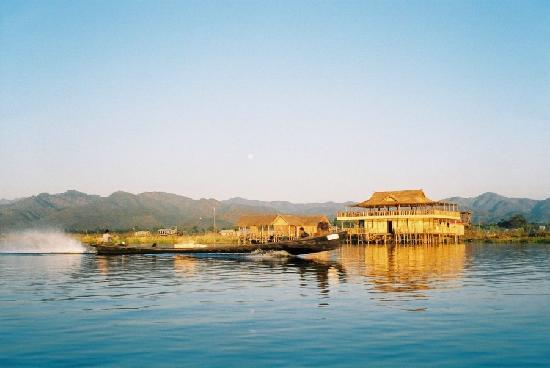 Nampan, Myanmar: Longboat on Inle Lake