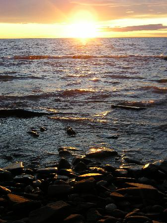 Porcupine Mountains Wilderness State Park: This was the view from our campsite looking out over a Lake Superior sunset