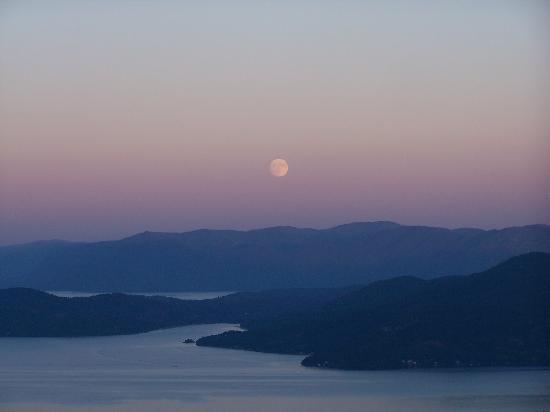 Schweitzer Mountain: The moon over Lake Pend Oreille