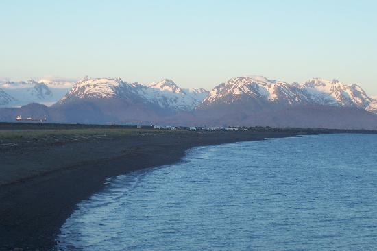 The Alaska Beach House: View of the Spit from the beach access deck