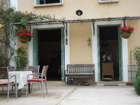 Bourg de Mat: French doors open onto the inviting patio.
