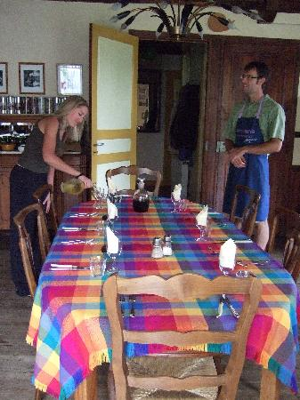 Bourg de Mat: Hosts Graham and Christine prepare for the eveing meal.