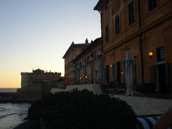 La Posta Vecchia Hotel : Closed Umbrellas on Terrace