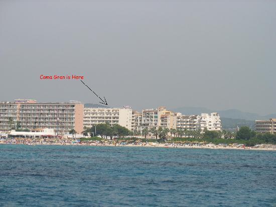 Hipotels Coma Gran Aparthotel: Coma Gran from the sea