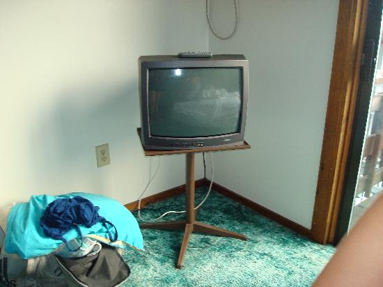 "Jonathan's Hotel ""On the Oceanfront"": The outdated tv on a music stand."