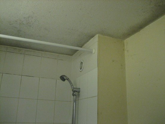 Inter-Hotel Paris Est Rosny : You can clearly see the mold in the corners where the ceiling meets the wall.