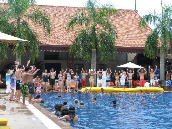 Club Med Cherating Beach: main swimming pool area and the silly signs