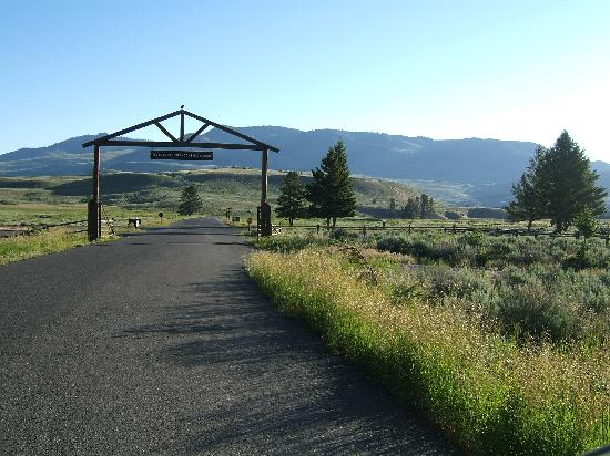 Roosevelt Lodge Dining Room: exit from Roosevelt Lodge, facing road to Lamar Valley