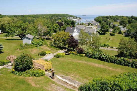 Moorings: View of New Harbor and The gardens from our deck