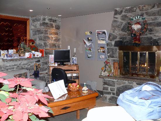 Auberge Le Pomerol : Petit salon avec cheminée pour se détendre