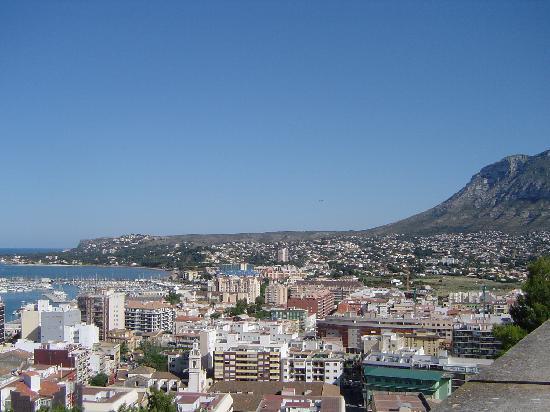 Denia port and town centre