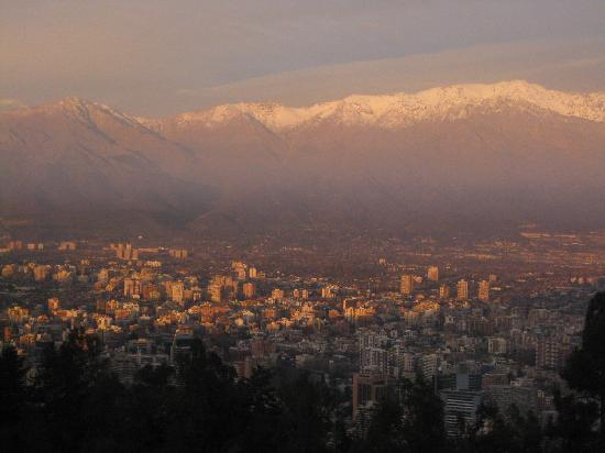 Chile: Andes vies from Cerro San Cristobal