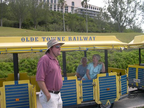 St. George's Olde Towne Railway Tour Train: Mom & my sister on the train