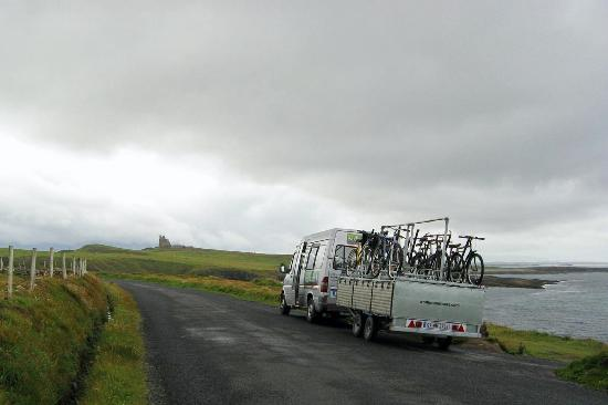 Mullaghmore, Ireland: our Wolfhound Adventure Tours van approches the castle