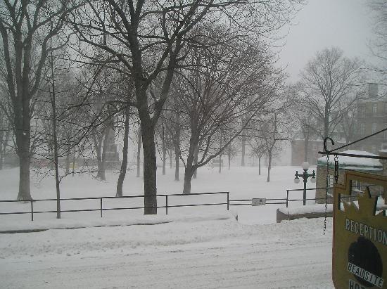 Hotel Manoir de la Terrasse: vue du devant de l'hotel sous une tempete de neige