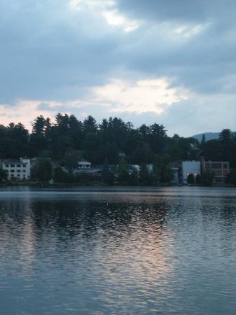 Boat House Restaurant at Lake Placid Club: Another View from Restaurant Deck: Mirror Lake at Sunset