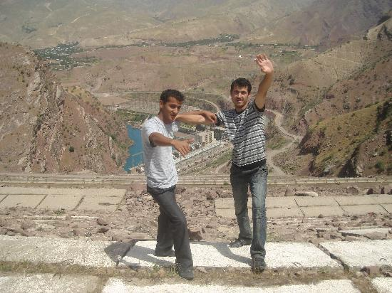 Tajikistan: From the right Me  and  My friend Muhammad on a dam
