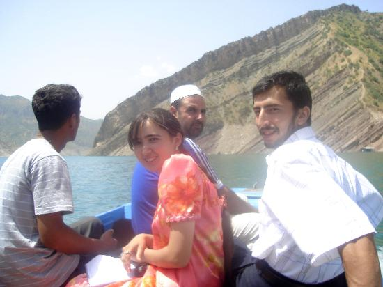 Tajikistan: On a boat with friends