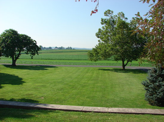Country Log House and Farm: View of front landscape from farm porch