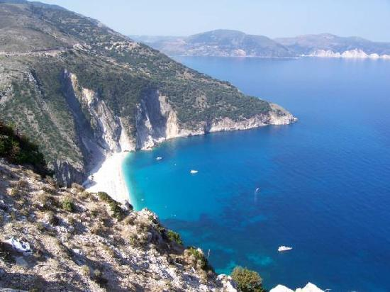Myrtos Beach: From the cliff road above