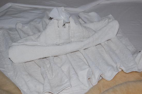 Hotel Sheherazade: One of Ashraf's towel sculptures!