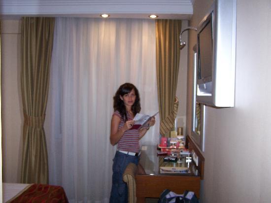 Ramada Istanbul Old City Hotel: Detrás de la cortina la ventana con doble cristal, ni te enteras del tránsito, tele plasma