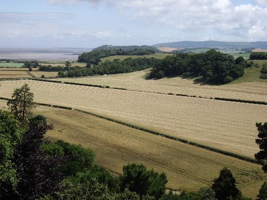 Higher Langridge Farm : Farmland rolling to the sea near Dunster Castle