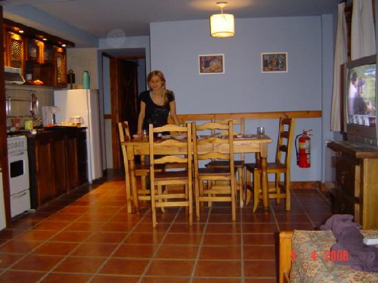 Villa del Lago : Estar y cocina de una de las cabañas.