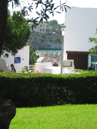 Aparthotel Ferrera Blanca: View down to the small beach from the main pool