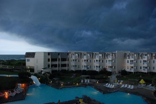 A Place at the Beach III : View of a storm over the courtyard from our balcony