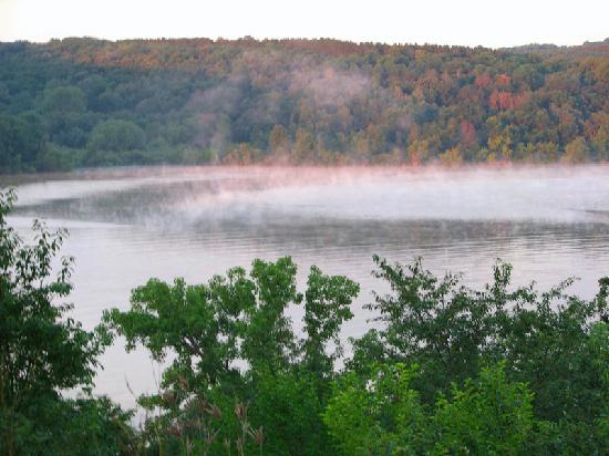Blanchardville, WI: Misty morning on Yellowstone Lake