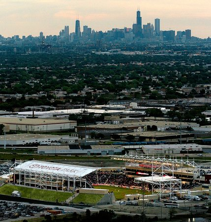 Bridgeview, IL: Toyota Park with the Chicago skyline in the background